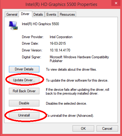 Outdated or corrupted driver version